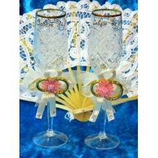 Набор украшений на бокалы коралловые 2 штуки №1867.50