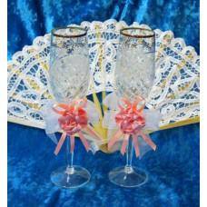 Набор украшений на бокалы персик 2 штуки №1870.32