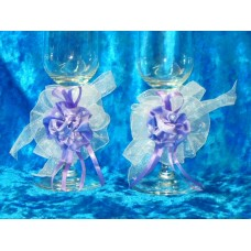 Набор украшений на бокалы Розы Сиреневые 2 штуки №818.45