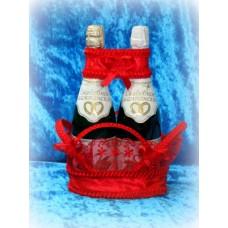 Корзиночка для бутылок красная №9.140