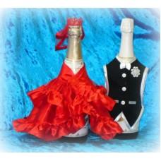 """Костюм на шампанское """"Жених и Невеста"""" Цвет: Красный №916.144"""