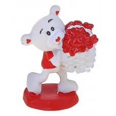 """Сувенир """"Мишка - ушастик с корзинкой сердечек""""  4х5х3,5см Цена за 1 штуку №1684.11"""