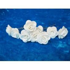 Шпильки Розочки белые d:3см  латекс Цена: за 1 штуку №1769.18