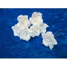 Шпильки Розочки белые d:3см  латекс Цена: за 1 штуку №1774.23