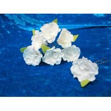 Шпильки Розочки белые d:3см  латекс Цена: за 1 штуку №1776.30