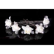 Шпилька для волос Цветок с бусинами   Цена за 1 штуку Цвет: айвори №1491.257