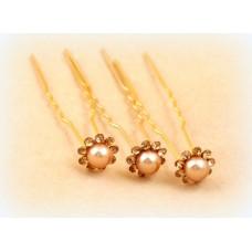 Шпилька для волос  Цена за 1 штуку Цвет: айвори с золотом №1493.152