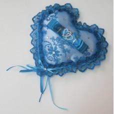 Подушечка для колец сердце с кружевом SvetikFantasy 22см Цвет: бирюза №741.447