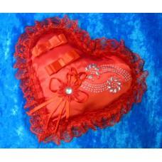 Подушечка для колец сердце-стразы красная 22см №806.96