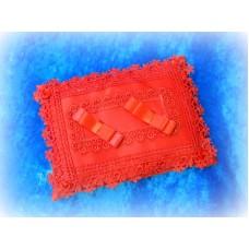 Подушечка для колец прямоугольная с кружевом Цвет: красная 20х15см №812.135