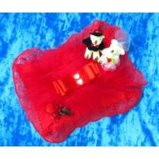 Подушечка для колец прямоугольная с кружевом Мишки SvetikFantasy Цвет: красная 20х15см №839.335