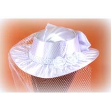 Шляпка атлас. Цвет: Белая  №1412.960