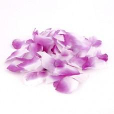 Лепестки роз цвет  БЕЛО-сиреневые (144шт) тканевые №1912.39