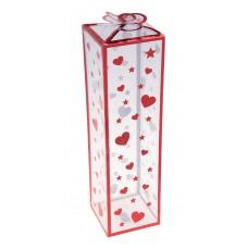 Коробка сборная пластик 25х7х7 см сердечки/звездочки красная №1158.161