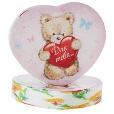 Полотенце прессованное сердце Для тебя мишка 26*50 см (изображение только на этикетке)  цвета в ассортименте 2,5х6,5см №1146.34