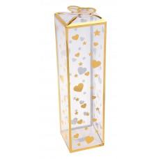 Коробка сборная пластик 25х7х7 см сердечки/звездочки золото №1159.161