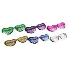 """Очки гигантские """"Сердце - жалюзи"""", блеск  3х16х8,5см цвета в ассортименте №1741.52"""