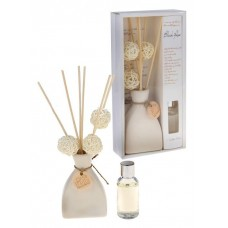 """Набор подарочный """"Европейский шик"""" Роза, белый: аромамасло 30 мл, вазочка, 6 палочек из ротанга, 3 шара 4х12х24см №2048.210"""