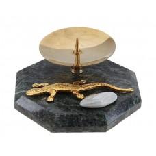 Подсвечник 8 гранный с ящеркой и голтовкой 7х4,5х7 см Натуральный камень: Змеевик №1664.217