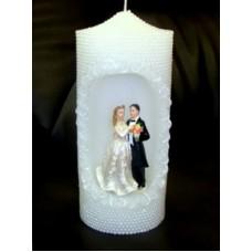Свеча со свадебн. фигуркой 10х10.4х23см Цвет: белый №1917.1100
