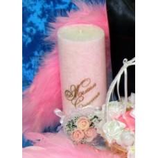"""Свеча """"Желаем счастья"""" SvetikFantasy 18,5 см, розовая, время горения 50 ч №945.470"""